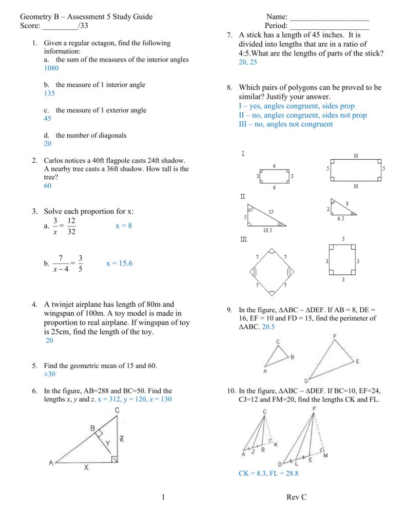 Geometry Unit 5 Exam