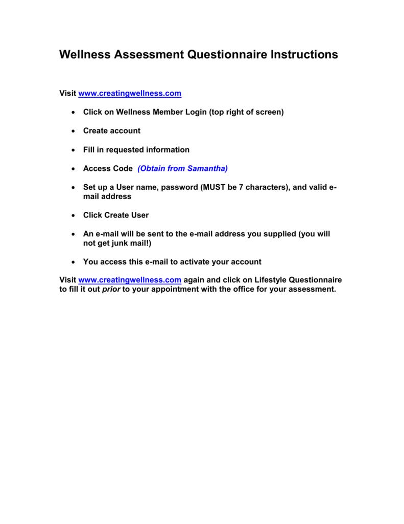 Wellness Assessment Questionnaire Instructions