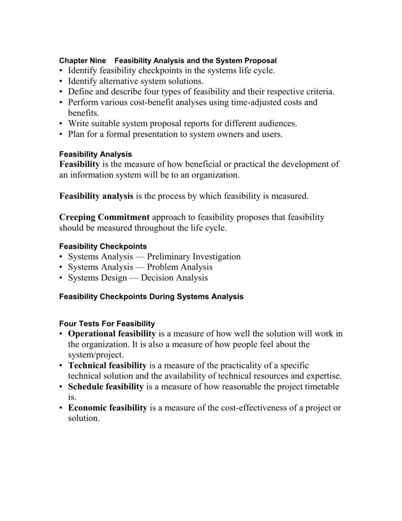 technical aspects sample feasibility study