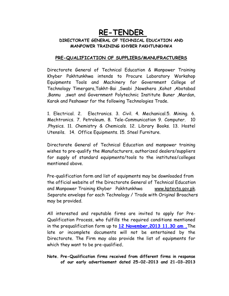 Pre-Qualification Re-Tender 2013-14