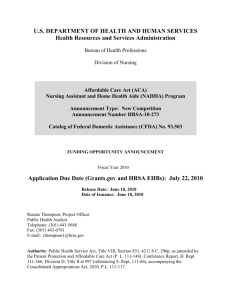 Grant Application: Nursing Assistant and Home Health Aide Program