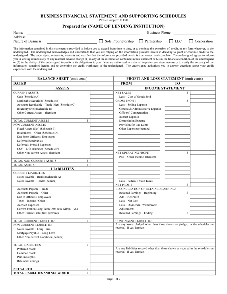 Business Financial Statement And Supporting Schedules