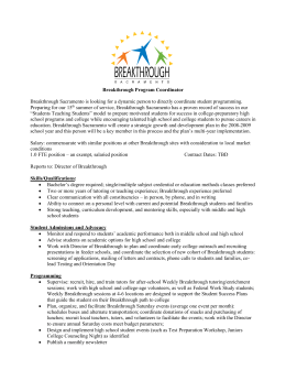 Breakthrough Sacramento Program Coordinator