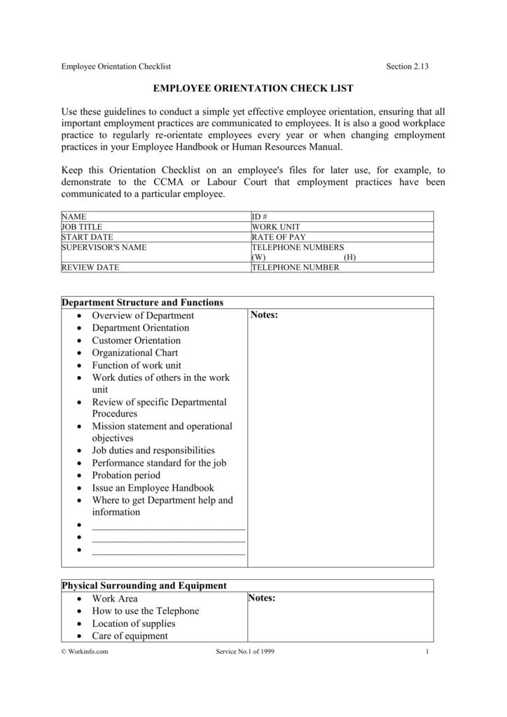 employee orientation check list rh studylib net Human Resources Number Human Resource Orientation Questionnaire