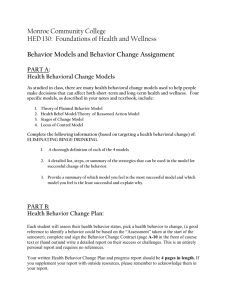 HED130 Behavior Assignment Option A