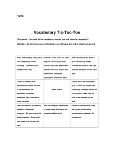 Vocabulary Tic-Tac-Toe