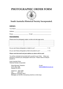 PHOTOGRAPHIC ORDER FORM - South Australia Police Historical