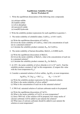 6 WORKSHEET Solubility Product