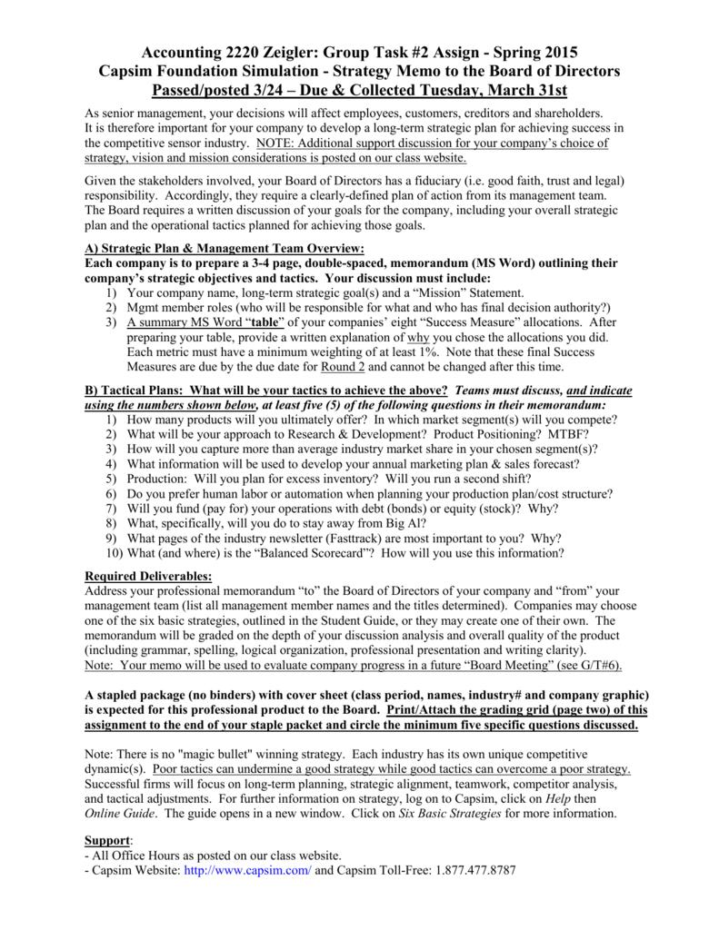 gt 2 - strategy memo