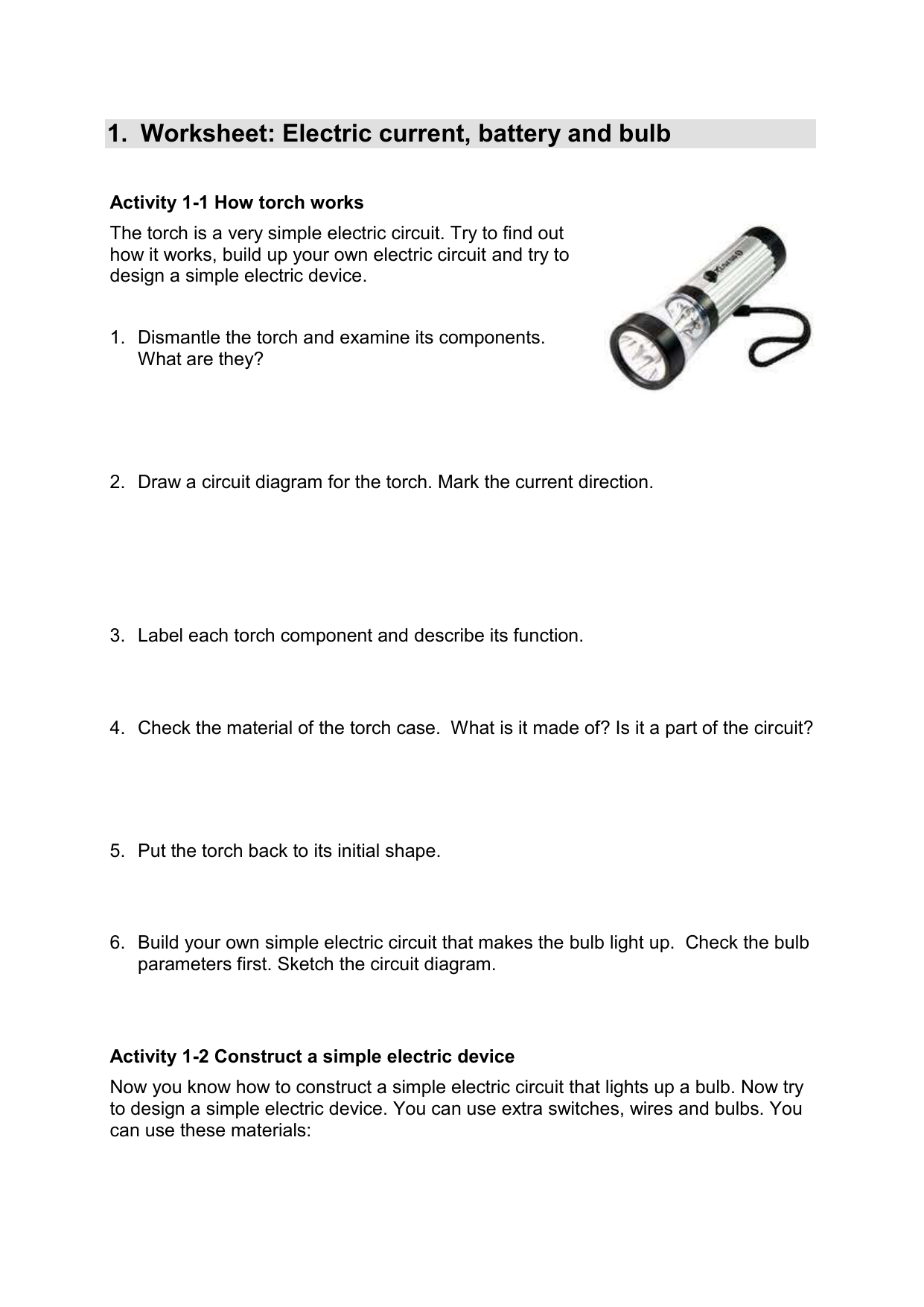 Worksheet: Electric current, battery and bulb on