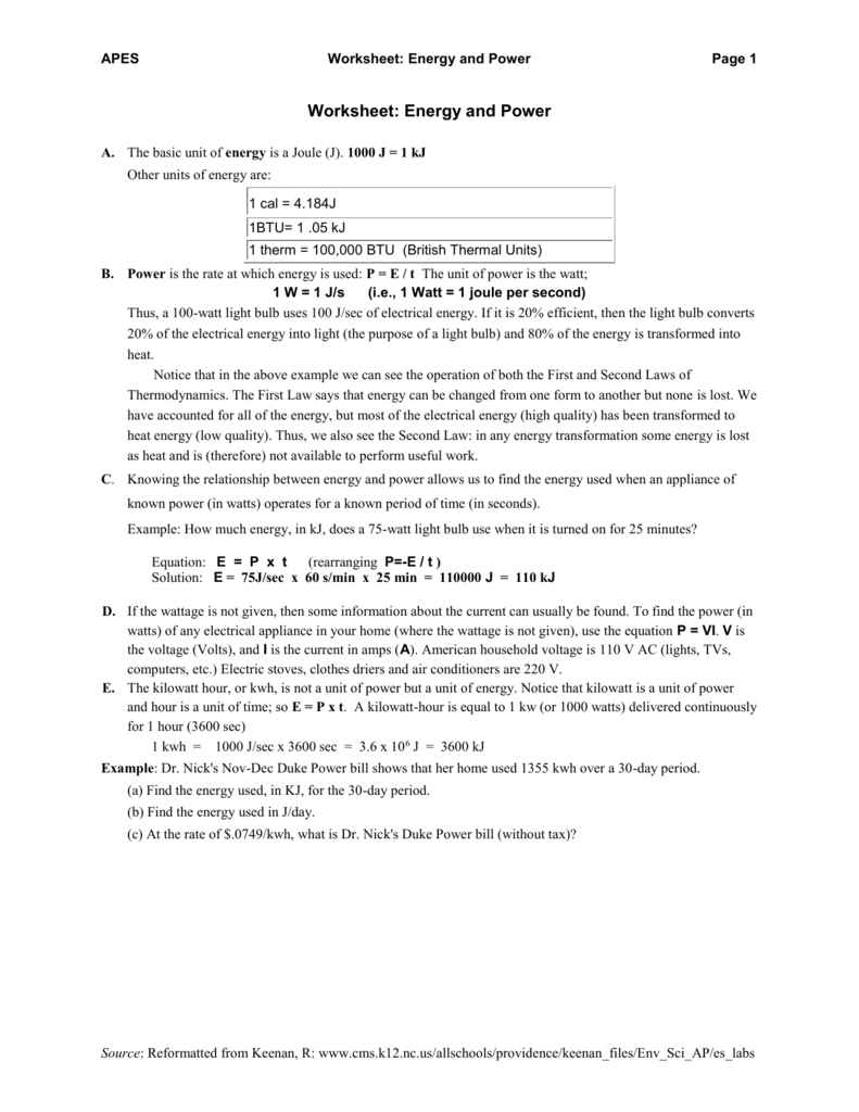 Worksheet: Energy and Power