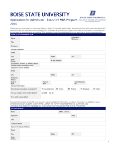 Application Form - College of Business and Economics