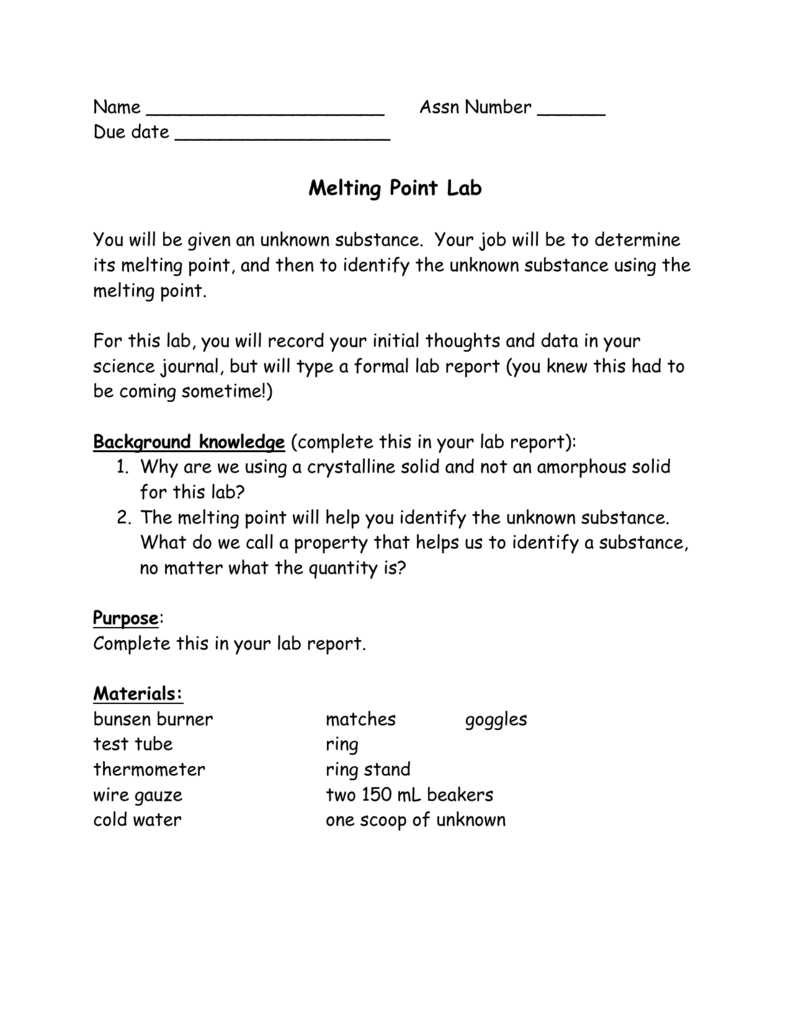 purpose of melting point lab