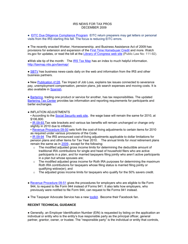 Irs News For Tax Professionals