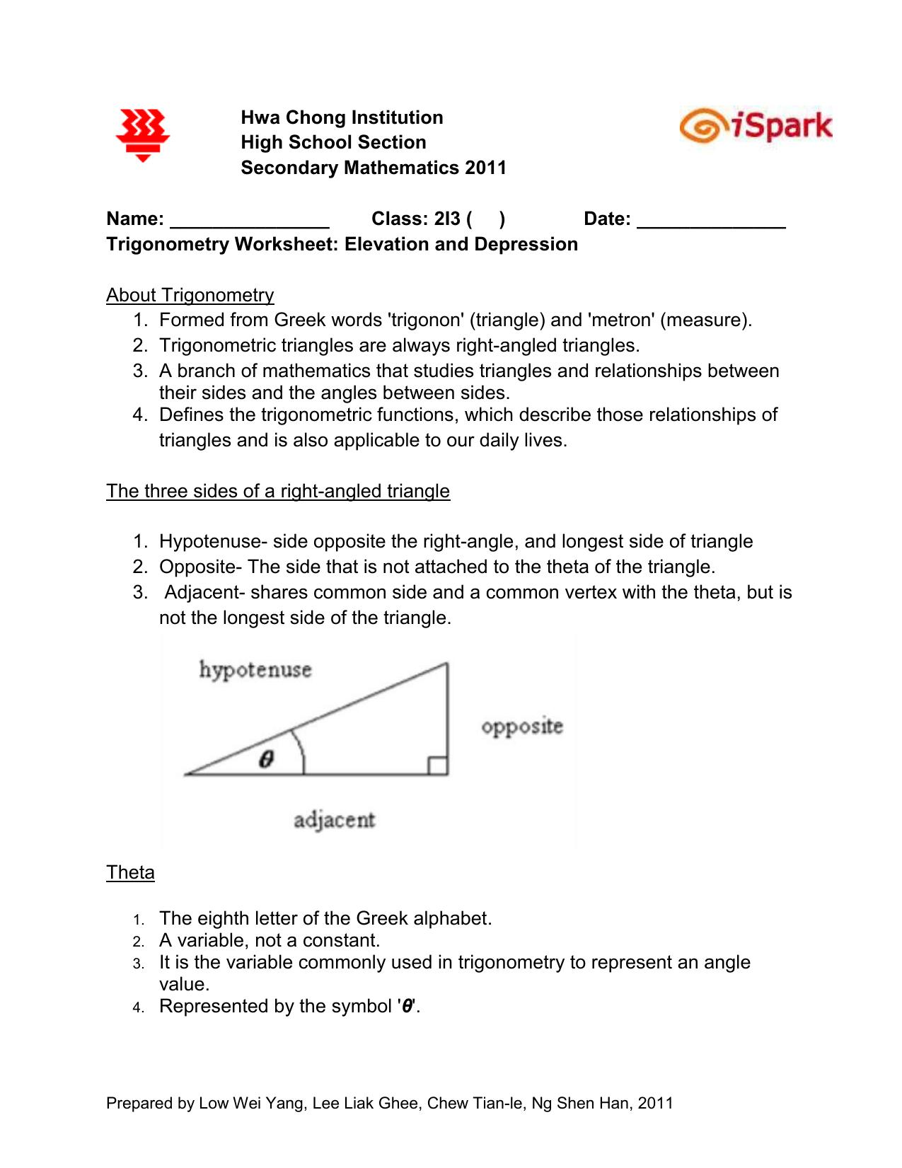 Worksheet Elevation And Depression