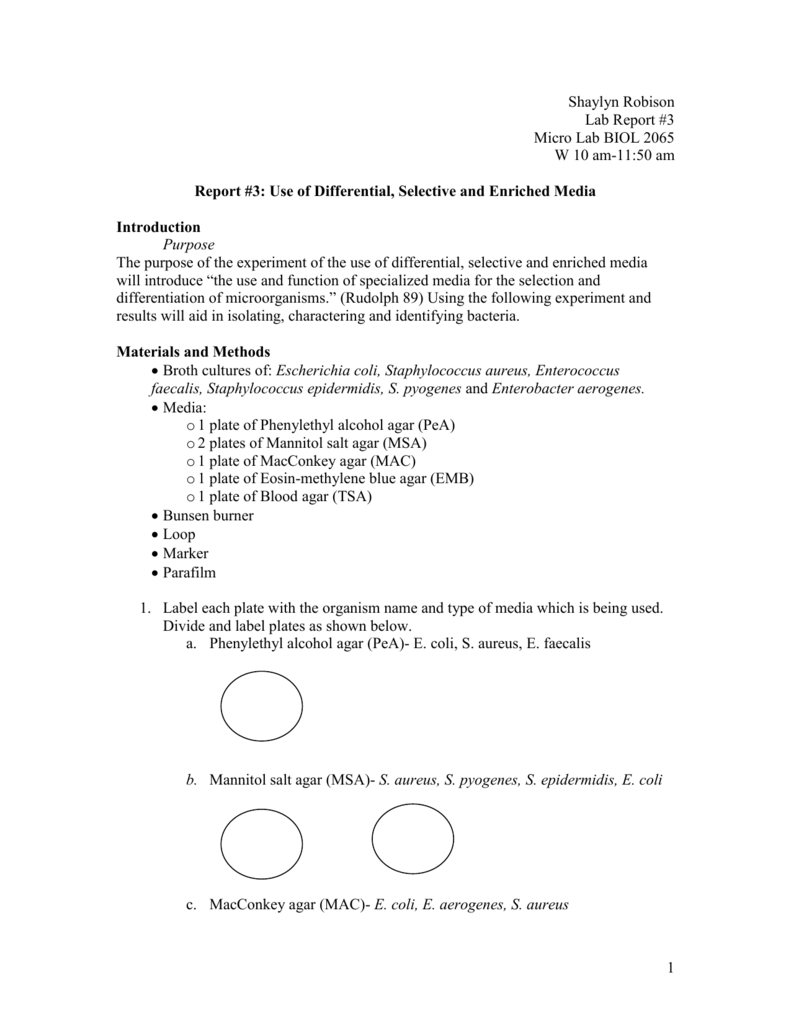 microbiology lab report 10 Example of how to format a microbiology unknown lab report sections include introduction, methods/materials, results, discussion, references.