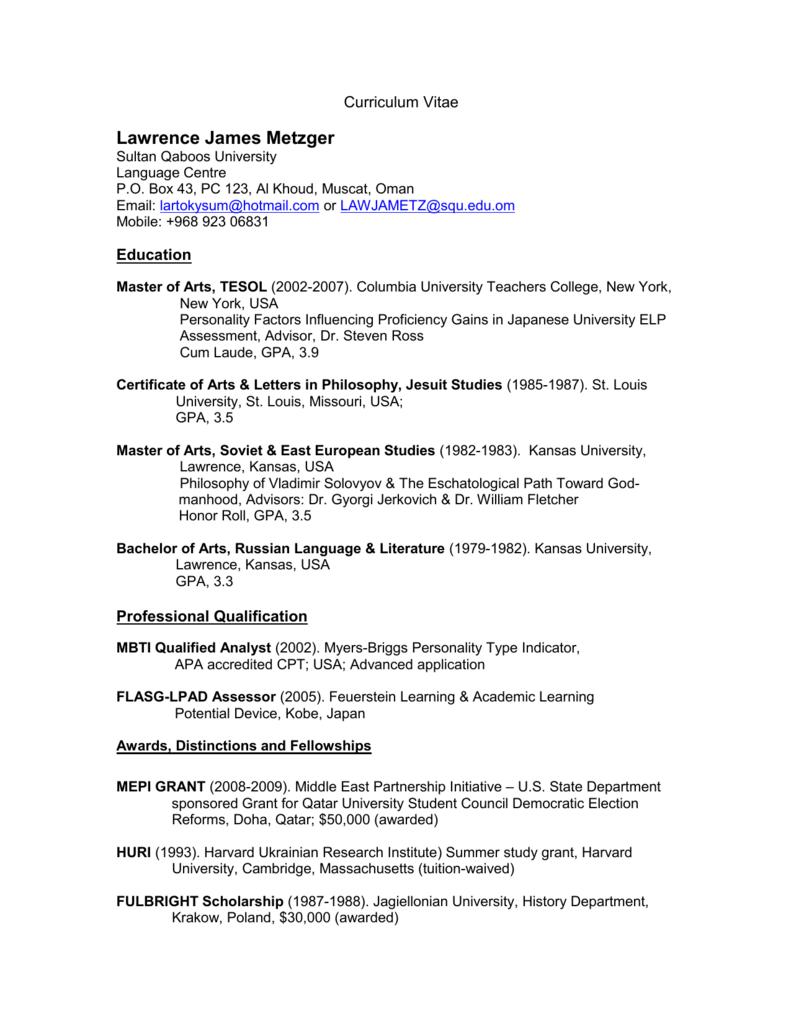 Cv Template Academic Careers