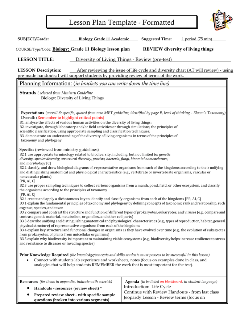 Lesson Plan Template - OISE-IS-BIOLOGY-2011-2012