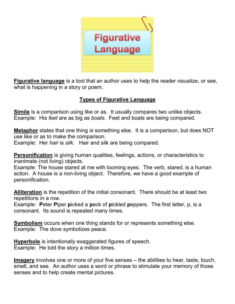 Figurative Language Worksheet #1