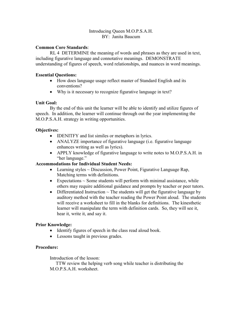 Introducing Queen M – Figurative Language Review Worksheet