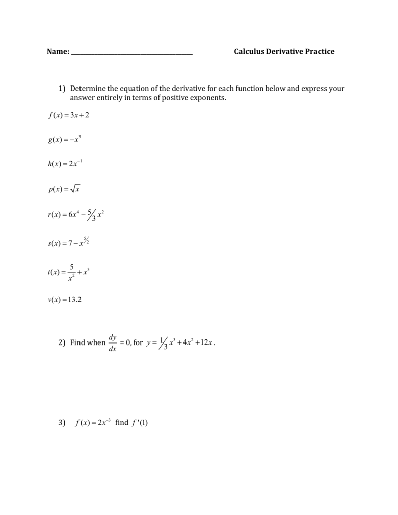Calculus Derivative Rules Practice Worksheet