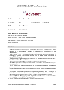 JOB DESCRIPTION - ADVONET / Human Resources Manager