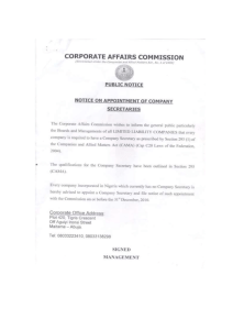 Notice on Appointment of Company Secretaries