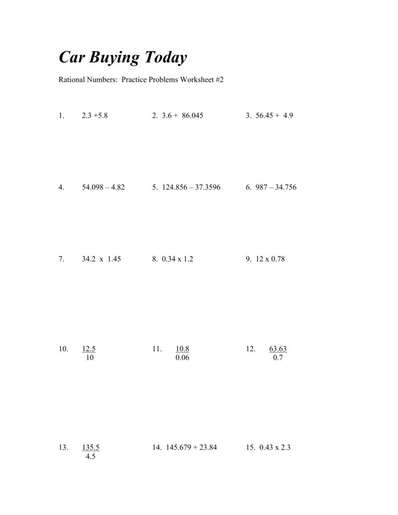 Rational Numbers Practice Problems Worksheet