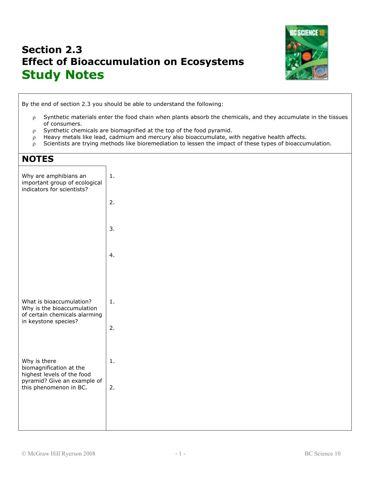 Workbooks bc science 10 workbook : 2.3 Study Notes
