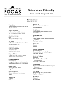 Networks and Citizenship Aspen, Colorado • August 1