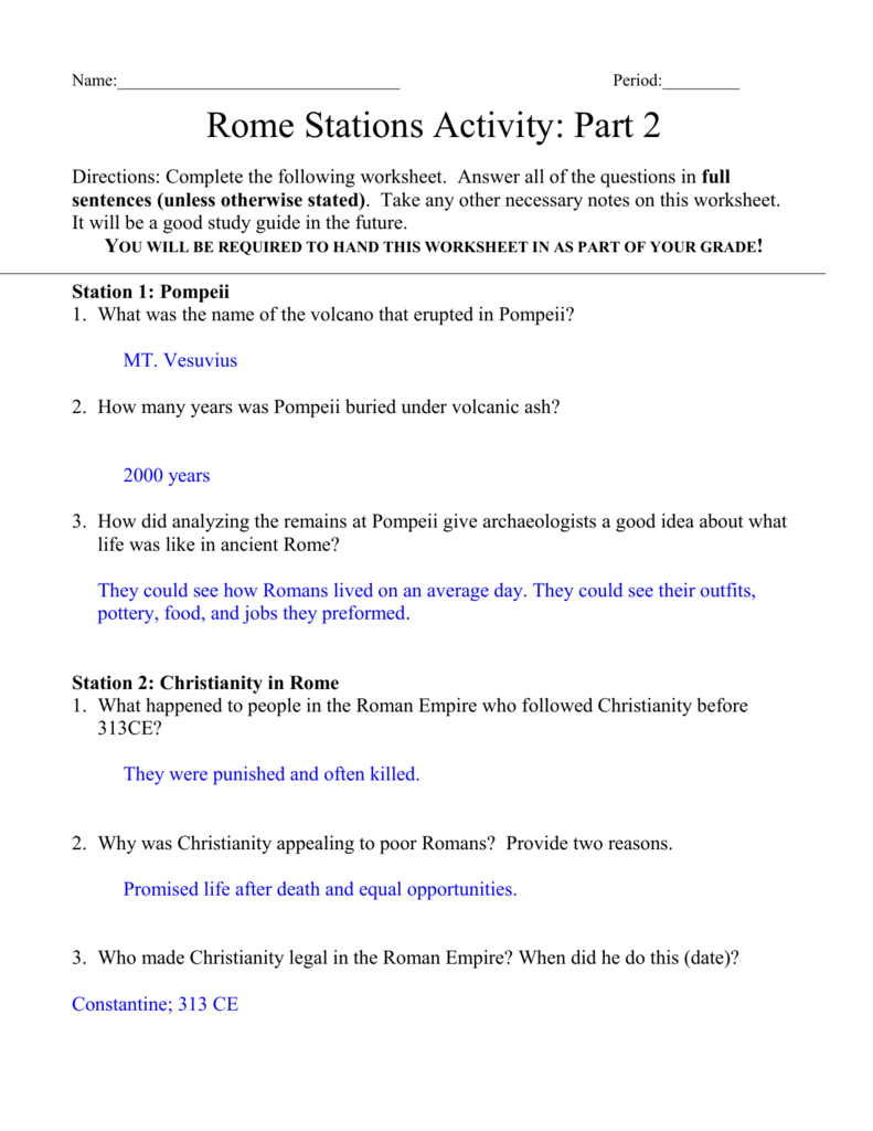 Worksheets Pompeii Worksheet name period rome stations activity part 2 directions