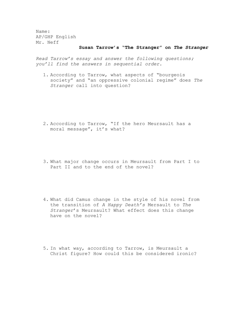 questions for critical essay on the stranger