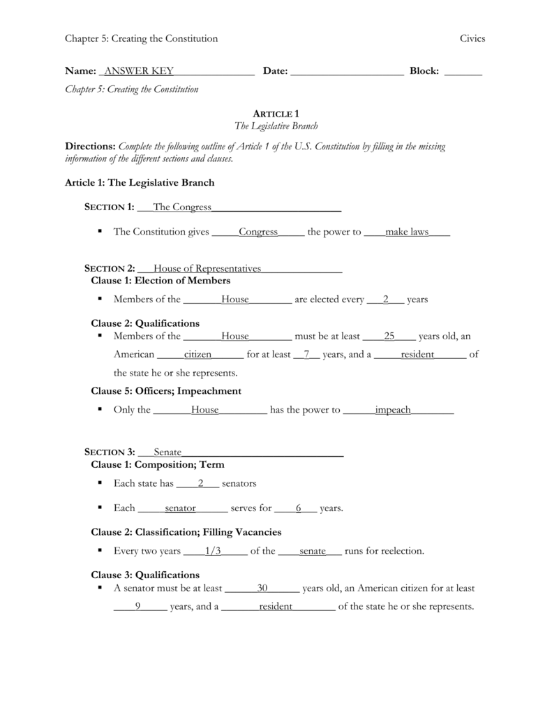 The Articles Of The Constitution Worksheets Answer Key