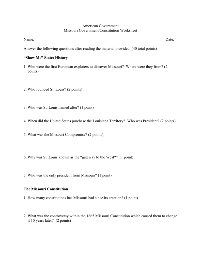 American Government Missouri Government/Constitution Worksheet
