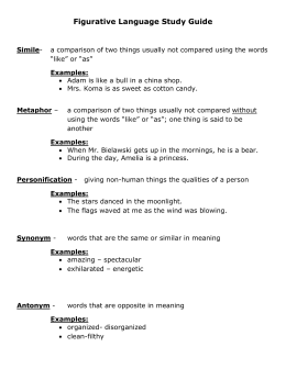 Figurative Language Study Guide