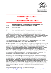 Welsh Ministers' first annual report on the implementation and