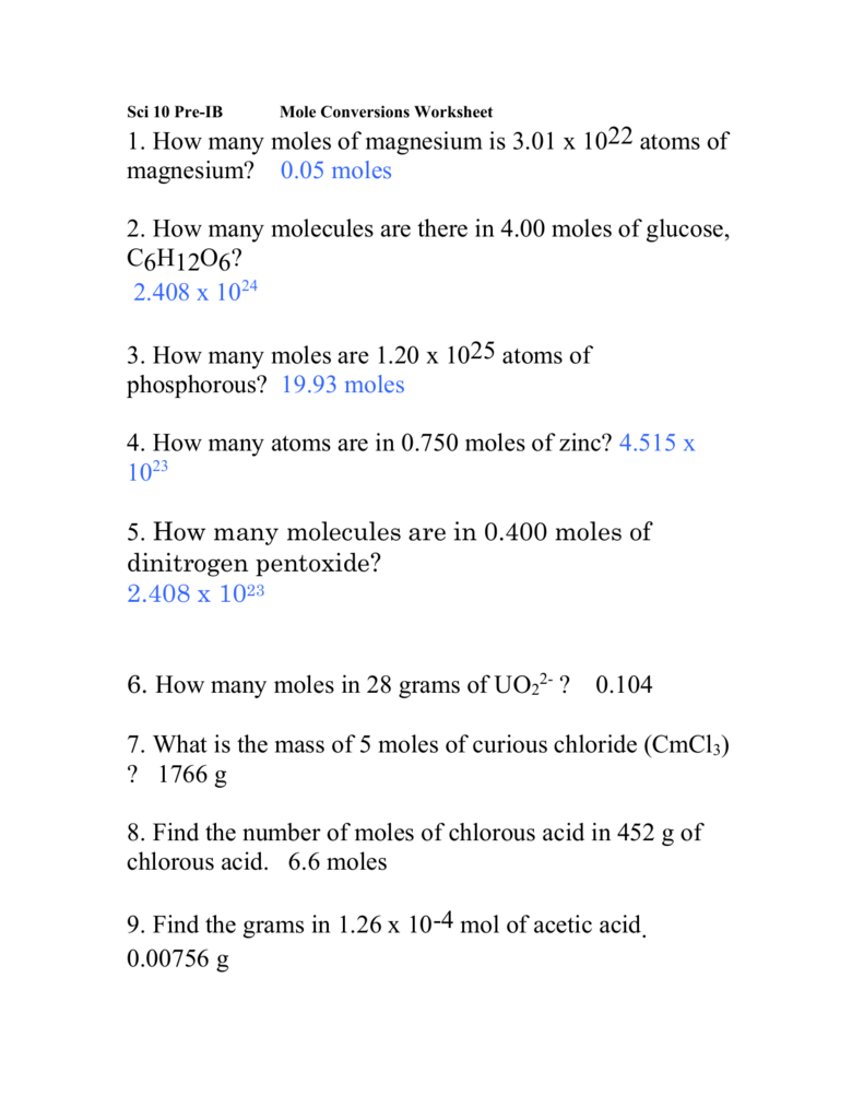 Document – Grams Moles Calculations Worksheet