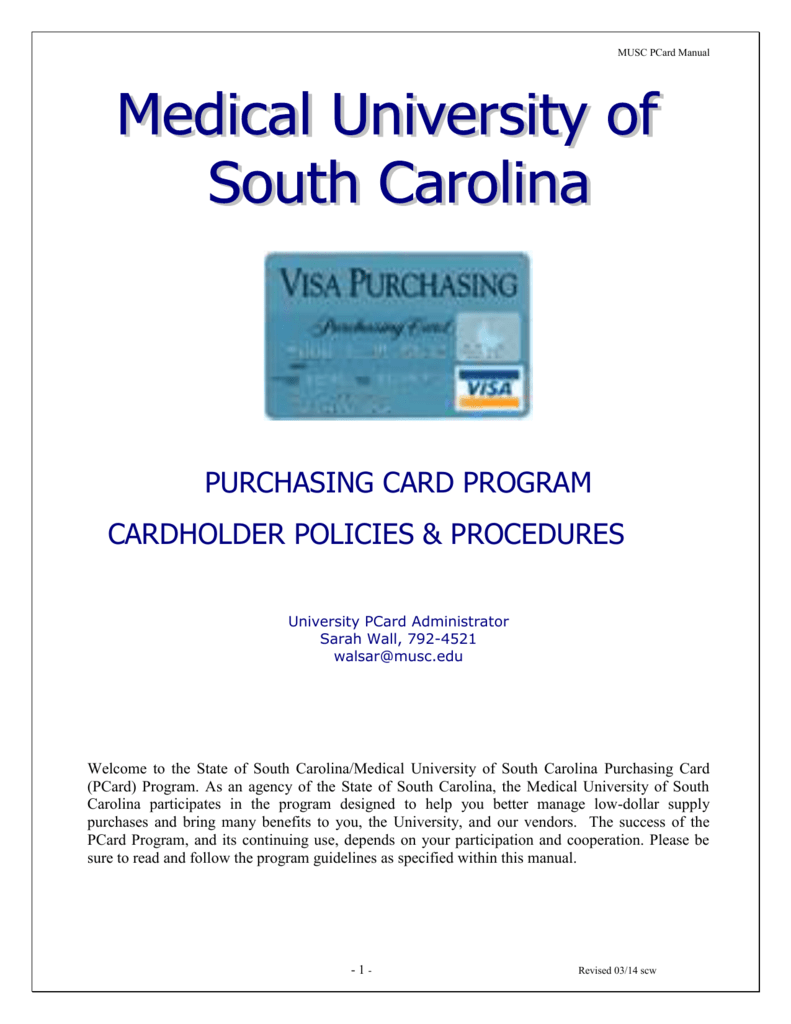 PCard Manual - Medical University of South Carolina