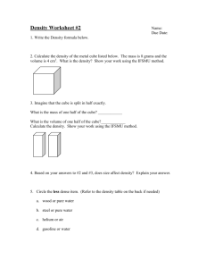 Density Worksheet
