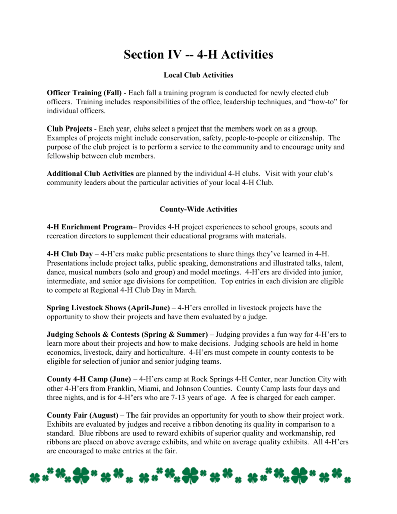 Section V - - 4-H Activities - Douglas County Extension Office