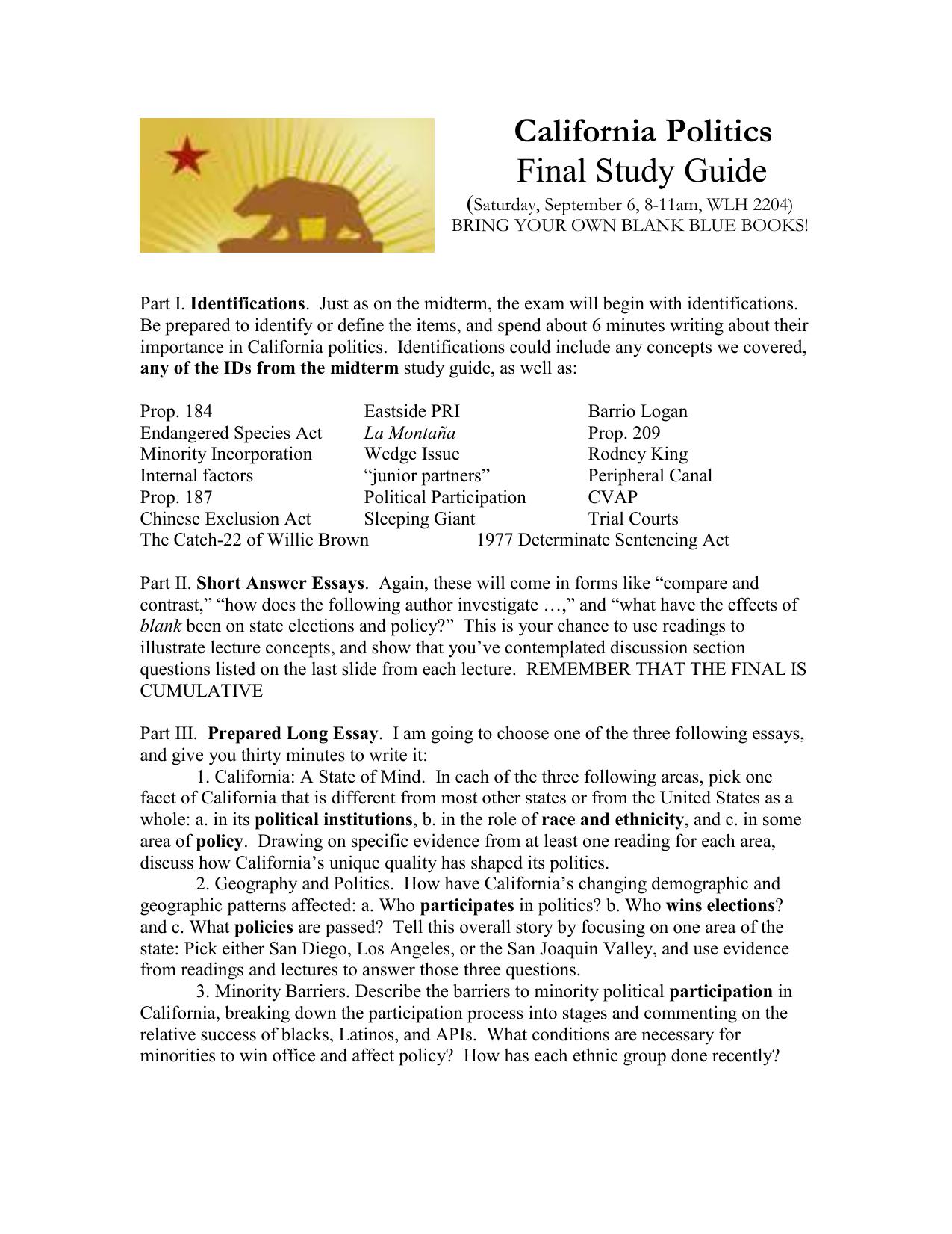 california politics final study guide saturday september 6 8 rh studylib net Army Study Guide Questions Study Guide Format