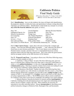 California Politics Final Study Guide (Thursday, December 7th, 3