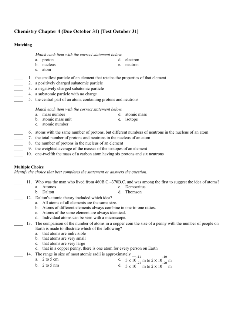 Chemistry Chapter 4 - Barnstable Academy