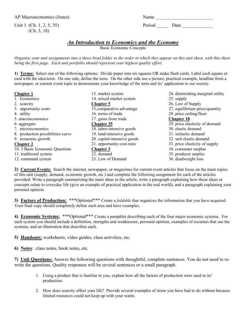 worksheet Scarcity And The Factors Of Production Worksheet Answers ap economics jones