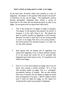 Kant's attack on being moral in order to be happy