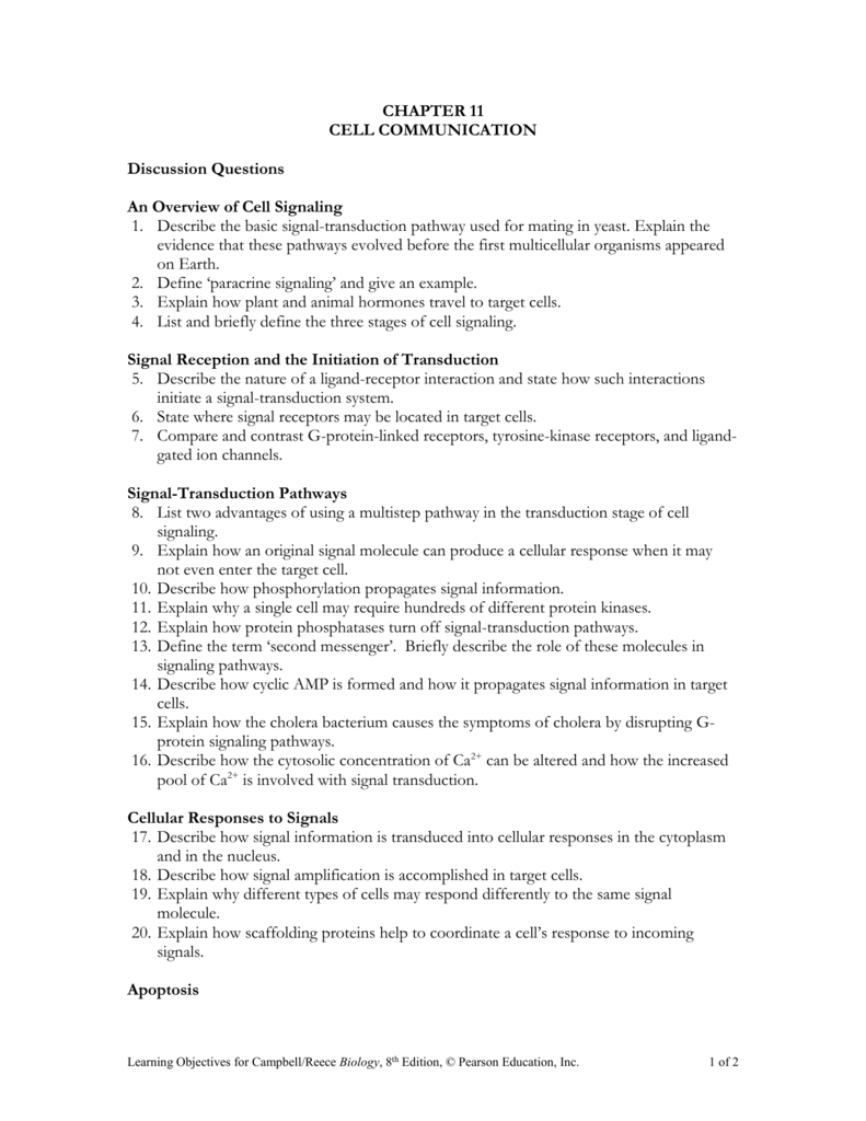 Chapter 11 Cell Communication Discussion Questions An