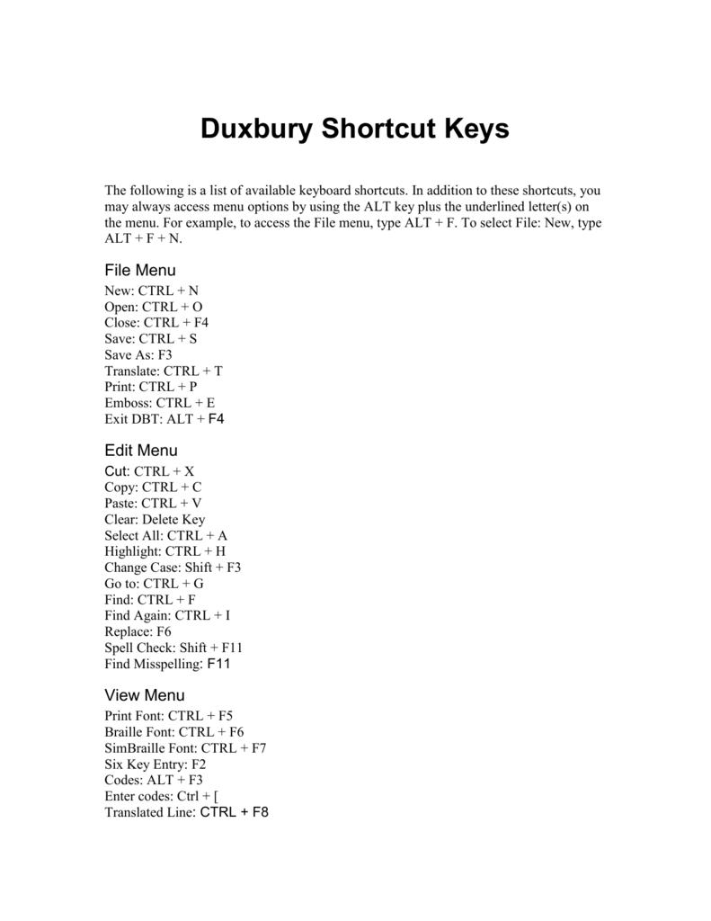 Duxbury Shortcut Keys Accessing Higher Ground