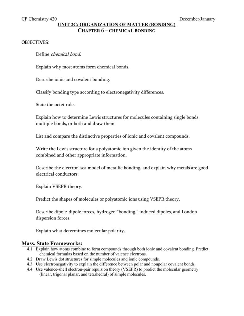 Chapter 6 chemical bonding – Metallic Bonding Worksheet
