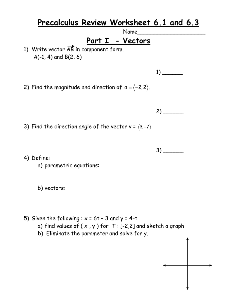 Worksheets Parametric Equations Worksheet review worksheet 6 16 3
