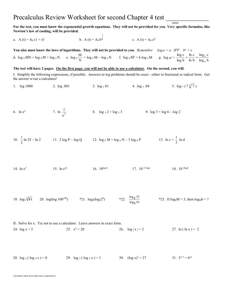 worksheet Precalculus Worksheets workbooks precalculus worksheets with answers free printable review worksheet for first chapter 5 test
